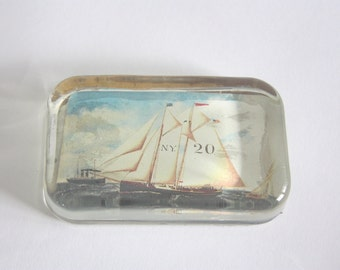 Vintage Glass Schooner Sailboat Paperweight