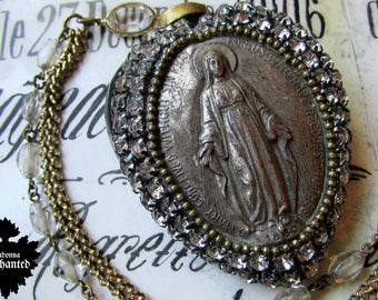 Madonna Enchanted sacred heart necklace religious Madonna antique rhinestones ex voto ooak jewelry French glass rosary beads assemblage