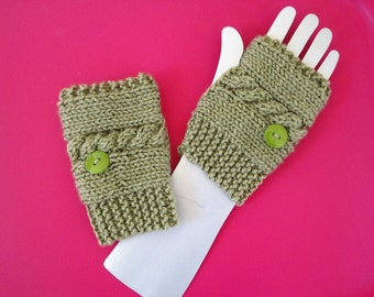 Cable Knitted Dusty Green Fingerless Gloves Hand Warmers