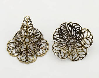 NEW Gorgeous Antique Brass Filgree Bead Caps 24 MM x 29 MM (10)  (ABBC002)