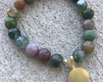 Green Jasper Beaded Bracelet with Gold Charm