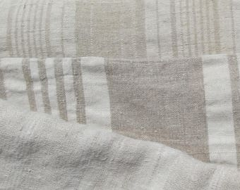Bundle Vintage French 1930s Striped Ticking Fabric Herringbone Buff Beige Ecru Natural Earth
