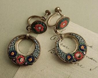 Italian Mosaic Hoop Dangle Screw Back Earrings Blue 2 Piece Italy    OG8