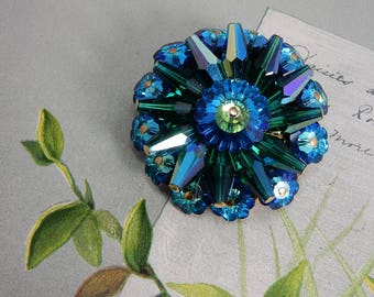 Azure Blue Rivoli & Tube Bead Pin Brooch    OAK5