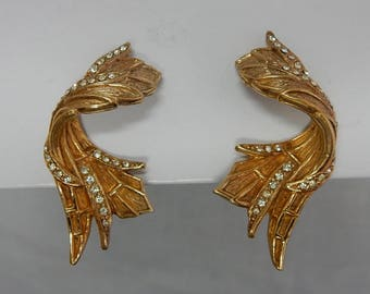Signed CINER Gold & Rhinestone Clip On Earrings    OAK17