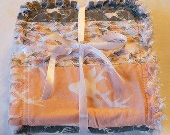FREE SHIPPING Baby Girl Burp Cloth Set of 3 -Modern Woodland Deer Tribal Prints in Peach Pink Gray with Gold Chenille Rag Quilted