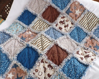 Little Cowboy Baby Boy Rag Crib Quilt- Rodeo Horses Stars Western Prints in Denim Blue Tan and Saddle Brown Ready to Ship