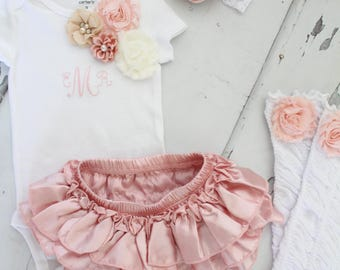 Baby Girl 1st Birthday Outfit Set up to 4 Items, Blush Ruffle Diaper Cover, Rose Leg Warmers, Monogrammed Floral Bodysuit. Summer, Rose Gold