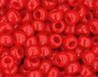 Japanese (TOHO) 8/0, Seed Bead, OPAQUE CHERRY, #45a, red, bright red, cherry red, orange-red, Kumihimo, Beadweaving, Beading, Jewelry
