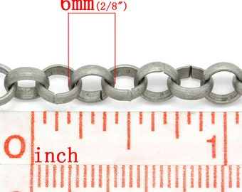 5M (16.4 Ft) - Antique Silver Tone Rolo Chain - Links: 6mm