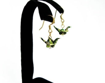 """Winter Sale Tiny Origami Crane Earrings Forest Green 3/4"""""""