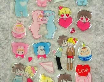 Mixed Cute Love PVC Bear Couple Stickers