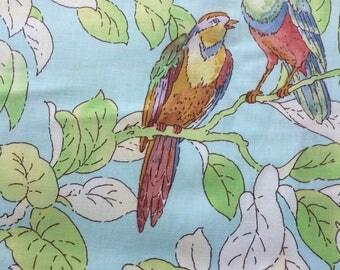 Michael Miller Bird Chat Fabric, Parakeet Fabric, Budgie Fabric, Tropical Bird Fabric OOP, HTF