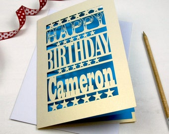 Papercut Happy Birthday Personalised Card, Laser Cut Birthday Card With Name,