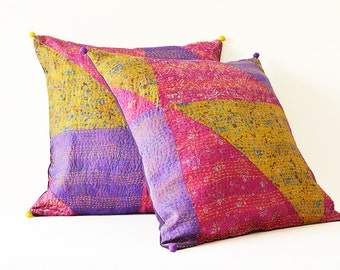 Set of 2 Patchwork Vintage Kantha Pillow Covers , Hand Stitched Vintage Kantha Pillows , Kantha Cushion Cover, Vintage Kantha Cushion Covers