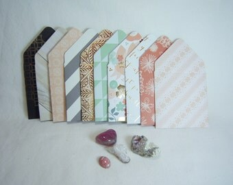 Handmade Mini Envelopes, Gold Foil Envelopes, Set of Ten Mini Envelopes, 3 x 3 Envelopes with Note Cards, Foil Envelopes