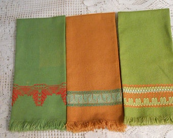 3 Green Olive & Russet HUCK TEA TOWELS Swedish Embroidery in Green Red Orange Yellow Geo Designs, Washable Cotton 16 x 24 Vintage Handmade
