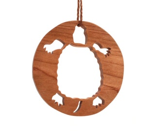 "Wooden Turtle Ornament, Terrapin Ornament, 3"" diameter, Wildlife Christmas Decoration, Naturalist Gift, Reptile, Hand Cut, Cherry"