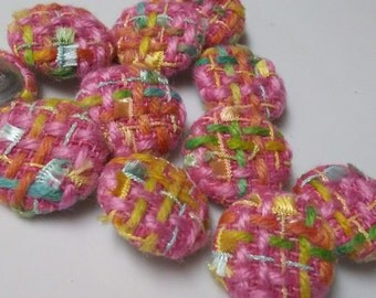 One Dozen  Vintage Bright Bouclé Fabric  Buttons with Pink, Blue, Green and Yellow Sewing Buttons. Great for Jackets and Handbags