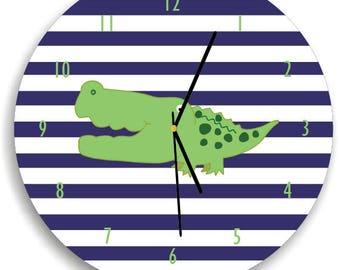 Alligator nursery wall clock, Alligator wall clock, Alligator Kids Wall clock, Navy and white nursery, Alligator nursery decor
