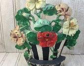 Vintage Shabby Chic Cast Iron Basket of Flowers Doorstop