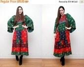 On Sale Vintage Indian Afghan Kaftan Kimono Cape Boho Angel Wing Maxi Dress RARE