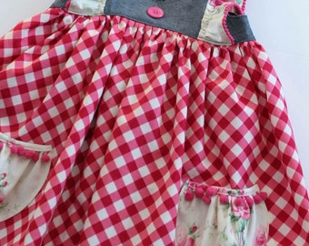 Gingham and Floral dress Available in Sizes 12 months to 8 years LAST ONE