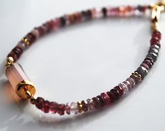 Multi-color Spinel Bracelet with Chalcedony faceted tube, 14kt Gold Filled Bracelet