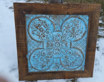 Vintage architectural  tin ceiling tile framed in 1800s barn wood  shabby,chippy rustic tin ceiling tile