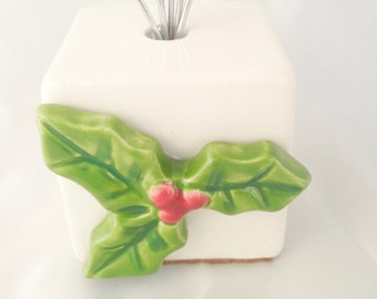 Christmas Card Holder - Wire Photo Display - Ceramic Photo Holder Holly Leaves and Berries