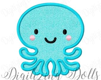 Octopus Applique Machine Embroidery Design 4x4 5x7 6x10 8x8 Summer Cute INSTANT DOWNLOAD