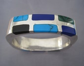 SALE - Vintage Sterling Turquoise Lapis Malachite Hinged Bangle Bracelet
