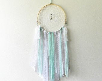 Large Dream Catcher - Bohemian Wall Decor - Boho Dream Catcher - Dream Catcher Wall Hanging - Gypsy Wall Decor - Mint Green - Grey