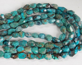 Natural tibetian Turquoise faceted nugget beads (12-17x8-12mm), turquoise  freeform nugget beads.   full strand (15.5 inches)