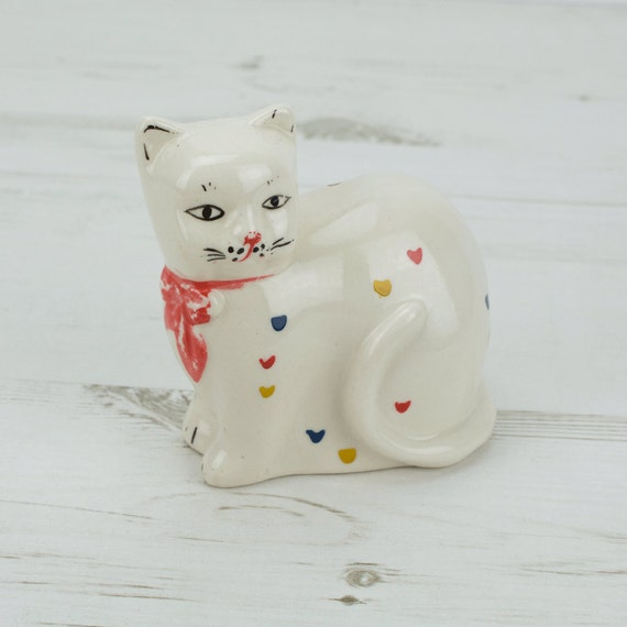 Vintage Cat Money Box - Heart - Kitsch - Savings - Pottery - Red - Yellow - Blue - Hand Painted - Animal - Feline