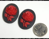 Two Black and Red Rose Cameos 30x40mm Cameos     CAM78