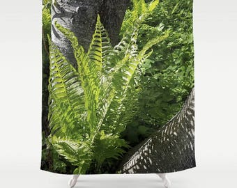 Shower curtain | Fern fronds and shadows - against birch bark | botanical home decor, green fronds | mother's day, bathroom decor