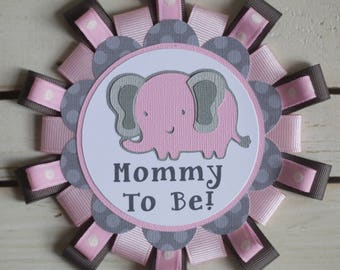Elephant theme button pin name tag for Baby Shower or Birthday Party