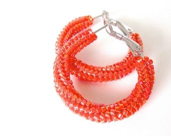 Beaded orange hoop earrings | woven earrings | orange beaded jewelry | beaded orange earrings | glass beaded earrings |  hoop earrings