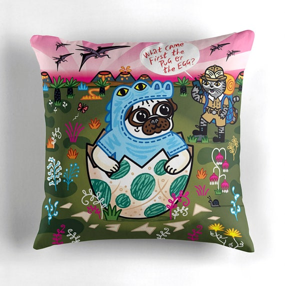"What Came First The Pug Or The Egg? - Children's Decor - Pug and Cat - Animal Cushion cover / Throw Pillow cover - (16"" x 16"")"