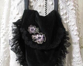 SALE Small Black Velvet Bag, bead lace applique embellished, handmade velvet fabric purse, evening bag
