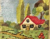 Vintage Cottage Crewel Embroidery Work, Fiber Wall Art, Mid Century, Rustic, Farmhouse