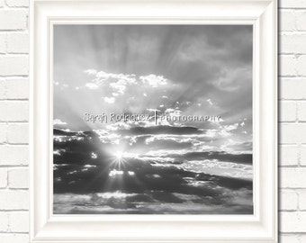 Sunset Photography - Wall Art PRINT Sunburst Through Clouds black and white nature sky living room bedroom office decor