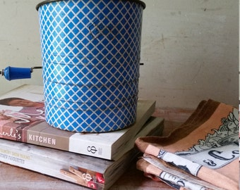 Rustic VIntage Kande Flour Sifter in blue and white