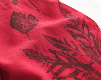 deep pink soft red and gray hand dyed and printed silk scarf with poppies