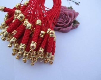 Phone strap, cell phone lariat, blue phone strap, 20 pcs gold metal top Red Strap Lanyard, Mobile Cell Phone Lariat Chain Connectors 75x5mm