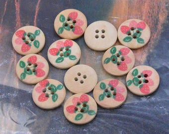 Wood, wood button, wooden button, button, Wholesale button, 20 Wooden Buttons, painted strawberry natural wood button, 4 holes button 18mm