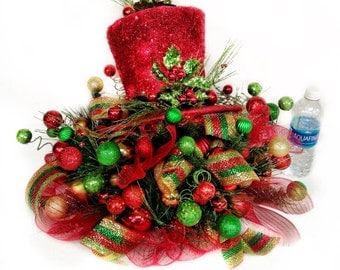 Top Hat Centerpiece Floral Arrangement Christmas Holiday New Year w lights red lime green gold CUSTOM Designs by Cabin Cove Creations