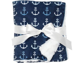 Anchor Minky Blanket - Nautical Baby Blanket - Minky Blanket - Nautical Baby Shower Gift - Nautical Blanket - Anchor Baby Gift - Navy Anchor
