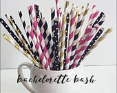 Bachelotte Party Staws, Gold Foil, Black, Hot Pink, Stripes & Polka Dots, Kate Spade Bridal Shower Decor, Birthday Party, Sweet 16 Set of 50